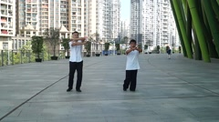 Chinese martial arts training, in Shenzhen Stock Footage