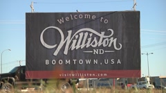 Williston ND Oil Boom Sign 1 Stock Footage