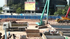 Subway construction site, in Shenzhen, China Stock Footage