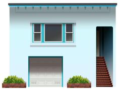 A house with a stair and a garage - stock illustration