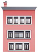 A tall pink building - stock illustration