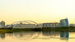 Panorama of the Ishim River, Sunset. Astana, Kazakhstan. 1280x720 Stock Footage