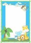 jungle baby animals - stock illustration