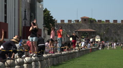 Pisa Italy tourists having fun leaning tower HD 044 Stock Footage