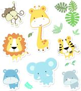 Baby animals and jungle leaves Stock Illustration