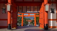 Gate to Fushimi Inari Taisha in Kyoto, Japan Stock Footage
