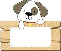 doggy with wooden blank board - stock illustration