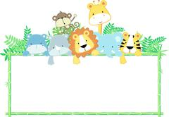 jungle baby animals with blank sign - stock illustration