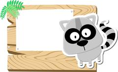 raccoon with wooden blank board - stock illustration