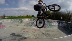 Steadicam - Slow Motion BMX in Skatepark - stock footage