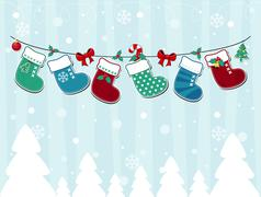 background with christmas socks and ornaments - stock illustration