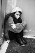 Homeless girl - stock photo