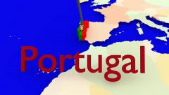 Worldmap Zooms to Portugal Stock Footage
