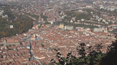 Aerial view Brasov medieval old town sunny day panorama red roof framing tourism Stock Footage