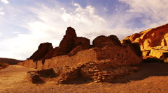 4K Chaco Culture 10 Time Lapse Pueblo Bonito Native American Ruins Sunset Stock Footage
