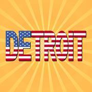 Detroit flag text with sunburst illustration Piirros