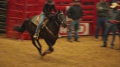 Stock Video Footage of Black Cowgirl Barrel Racing