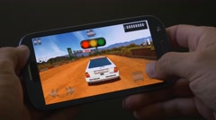 4K Race Game Apps For Smartphone Stock Footage