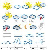 meteorology  icons element on white background - stock illustration