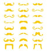Blond moustache or mustache vector icons set - stock illustration