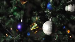 Merry Christmas Video Card with garland on background - stock footage