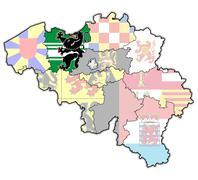 east flanders on map of belgium - stock illustration