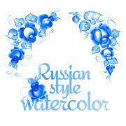 Gzhel style floral frame. Stock Illustration