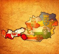 tirol on map of austria - stock illustration