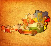 Burgenland on map of austria Stock Illustration