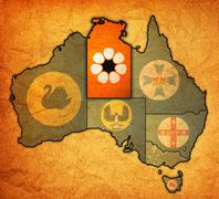 northern territory on map of australia - stock illustration