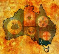 Victoria on map of australia Stock Illustration