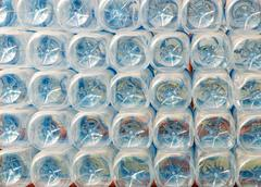 Stack of bottom of plastic bottles Stock Photos