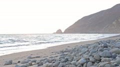 Motion Controlled Dolly In Time Lapse of Malibu Beach at Sunset Stock Footage
