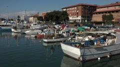 Livorno Italy marina water front traffic HD 061 Stock Footage