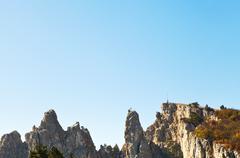 Blue sky over ai-petri peaks in crimean mountains Stock Photos