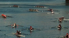 Men in canoes. portlnad Stock Footage