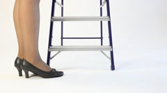 Unrecognizable businesswoman walking up the stairs Stock Footage