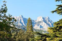 View of ai-petri mountain from alupka, crimea Stock Photos