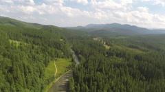 Landscape of   small mountain district with river . Aerial  - stock footage