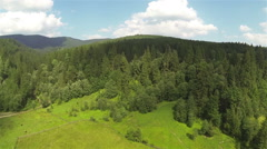 Panorama of  beautiful  small mountain district. Aerial  Stock Footage