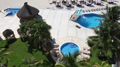 Luxury hotel with a swimming pool in Cancun - stock footage