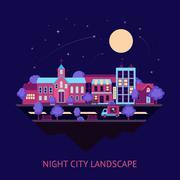 City scape night background - stock illustration
