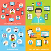 Mobile health icons set flat Stock Illustration
