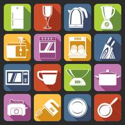 Kitchen appliances icons white - stock illustration