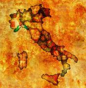 Map of italy with liguria region Stock Illustration