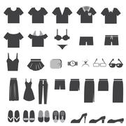 vector set of clothes icons - stock illustration