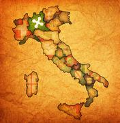 Map of italy with lombardy region Stock Illustration