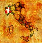 map of italy with piedmont - stock illustration