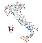 Map of italy with sardinia region Stock Illustration