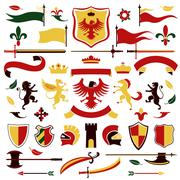 Heraldic set colored Stock Illustration